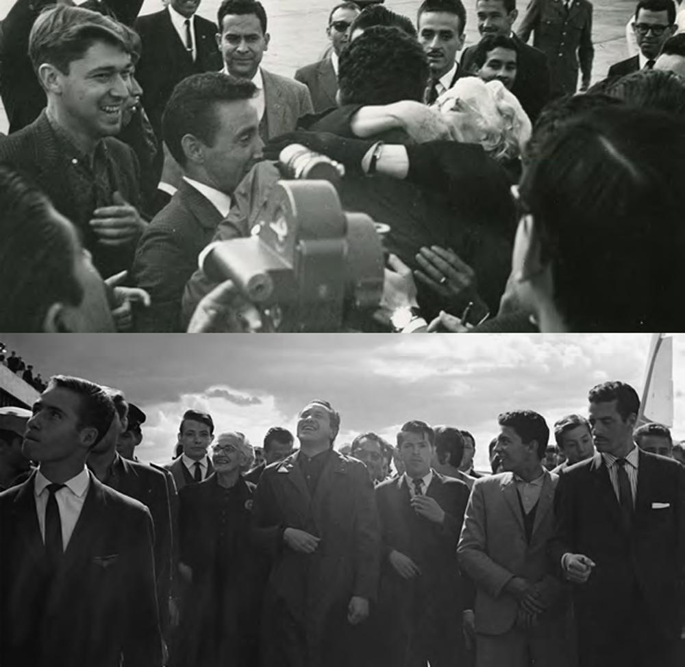 Isabel abraza a Camilo en el aeropuerto El Dorado a su regreso de Lima (Perú), 1965.